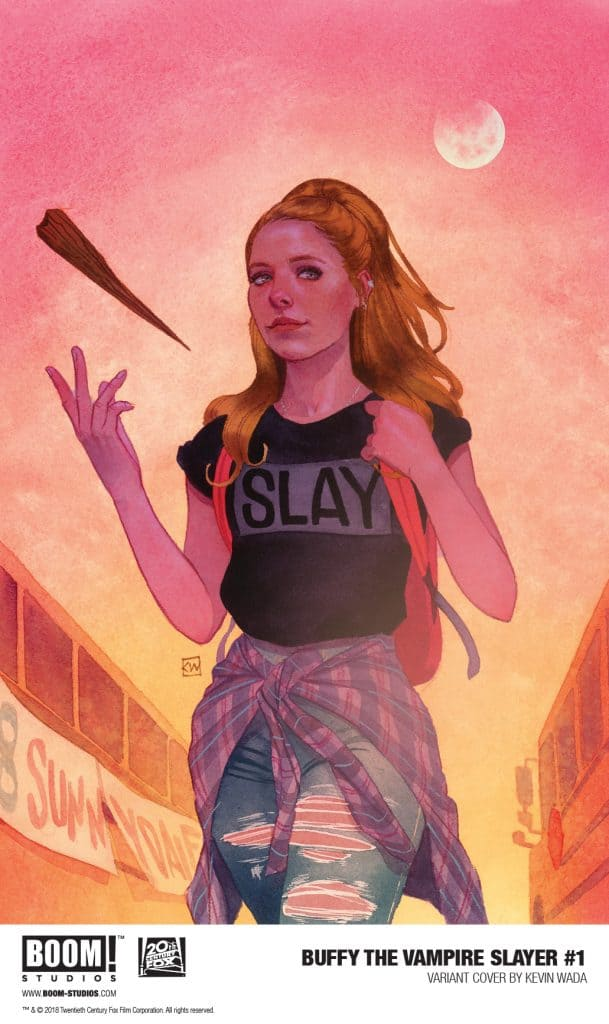 BOOM! Buffy the Vampire Slayer 1, Jordie Bellaire, Dan Mora, Raul Angula, Ed DUkeshire, 2019 VARIANT: Kevin Wada - Buffy walks down a high school hallway tossing a stake in her hand, wearing a T-shirt with the slogan SLAY