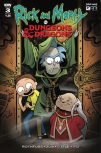 Rick and Morty Dungeons and Dragons #3, Troy Little, December 5 2018, IDW Publishing - Rick, in a green medieval-looking robe, opens the doors on a small, old, red-robed figure; Morty looks delighted and laughs while Rick looks annoyed