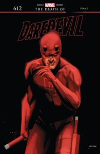 Cover for Daredevil #612 - Daredevil in full costume wipes blood from his mouth as he looks at the viewer