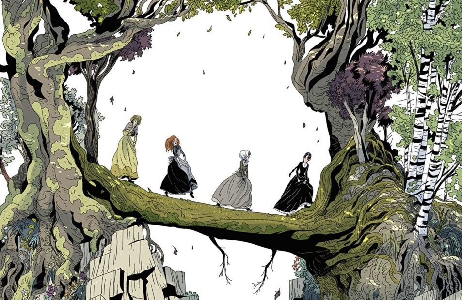 Cover for The Daughters of Salem, Written and drawn by Thomas Gilbert. Published by Europe Comics. January 23, 2019 - Four women in long dresses cross a fallen tree to get over a forested cliff