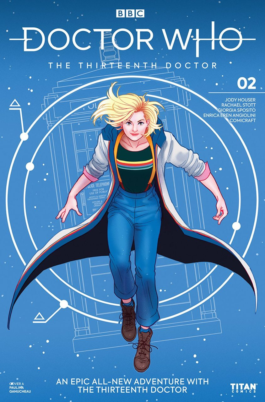 Cover of Doctor Who: The Thirteenth Doctor - The Doctor, a pale-skinned woman with short blonde hair in blue pants, suspenders, and a long blue/white coat, smiles at the viewer