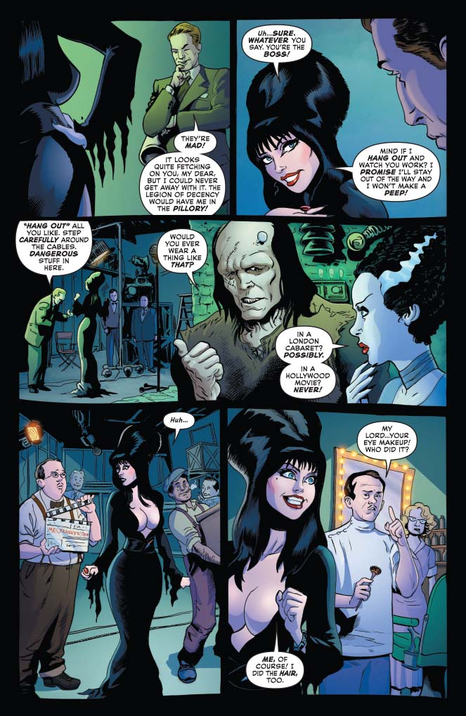 Interior for Elvira: Mistress of the Dark #4, Dave Avallone (Writer); Dave Acosta (Art); Andrew Covalt (Colors); Taylor Esposito (Letters); Joseph Michael Lisner, Craig Cermak, Robert Hack (Covers), C Dynamite Comics, January 2019