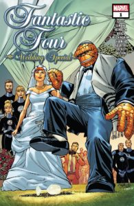 Cover for Fantastic Four: Wedding Special #1 - Ben Grimm holds the hand of his bride as he lifts a shoe to step on and break a wine glass
