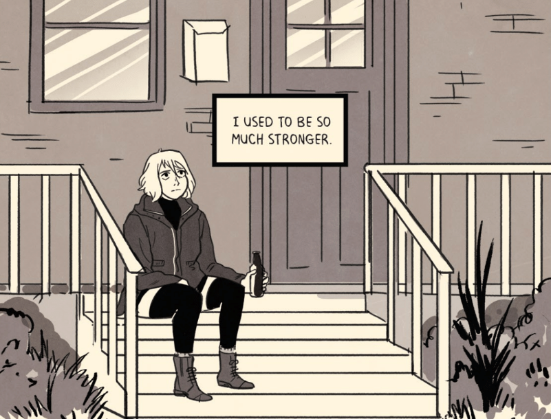 """Frances sitting on a stoop, holding a bottle. A text box reads, """"I used to be so much stronger."""""""
