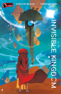 Invisible Kingdom #1 (Berger Books - Dark Horse Comics, 2019) - A figure in a red robe and headdress stands on an orange plain, looking at a floating green structure