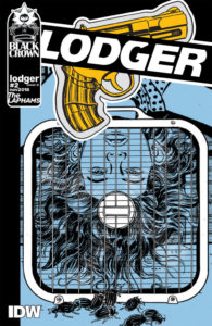 Cover for The Lodger #2, David Lapham, December 2018, IDW Publishing - An upside-down woman's face behind what looks like a box fan, with cockroaches crawling towards her; minimally colored in white, black, and pale blue