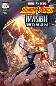 Cover for Marvel 2-in-One #12 - Invisible Woman and the Human Torch aim their powers at what looks like a giant hand, among other alien opponents