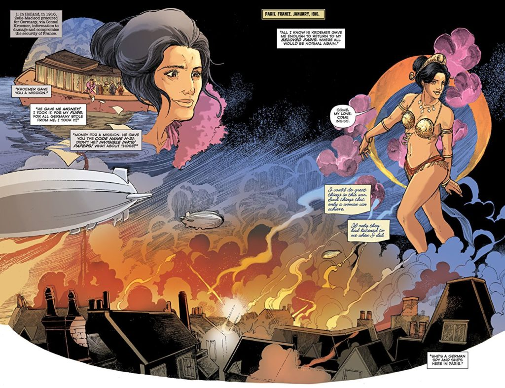 Mata Hari TPB pages 104-105. Written by Emma Beeby, drawn by Ariela Kristantina. Published by Dark Horse Comics. March 13, 2019.