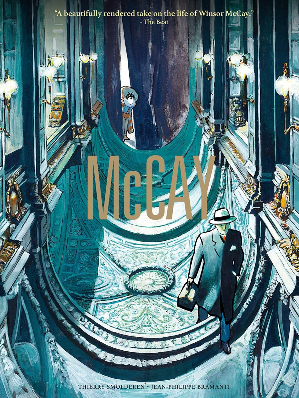 Cover of McCay: A suited, hatted man walks through the upside-down interior of what looks like a cathedral, in muted blue-green with gold accents; in the background a child peeks out at the man from behind a dark curtain