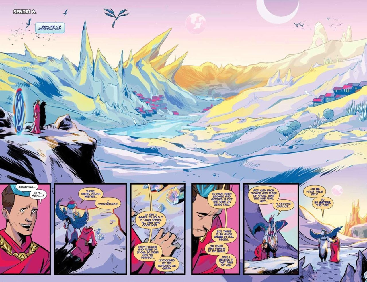 Heckyl returns to Sentai 6 in Mighty Morphin Power Rangers #35 pages 4 and 5. Written by Marguerite Bennett and drawn by French Carlomagno and Francesco Mortarino. Published by BOOM! Studios. 30 January, 2019.