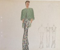 "Elsa Schiaparelli sketch from the ""Pagan Collection"" 1938,"