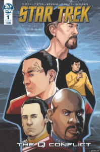 Star Trek: The Q Conflict #1 Cover B by David Messina. Written by Scott and David Tipton, drawn by David Messina and Elisabetta D'Amico. Published by IDW Publishing. 30 January, 2019.