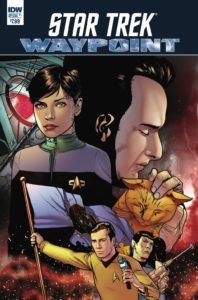 Cover for Star Trek Waypoint Special #1, Josh Hood, December 12 2018, IDW Publishing - Characters from different Star Trek series in an ensemble pose across a red galaxy background