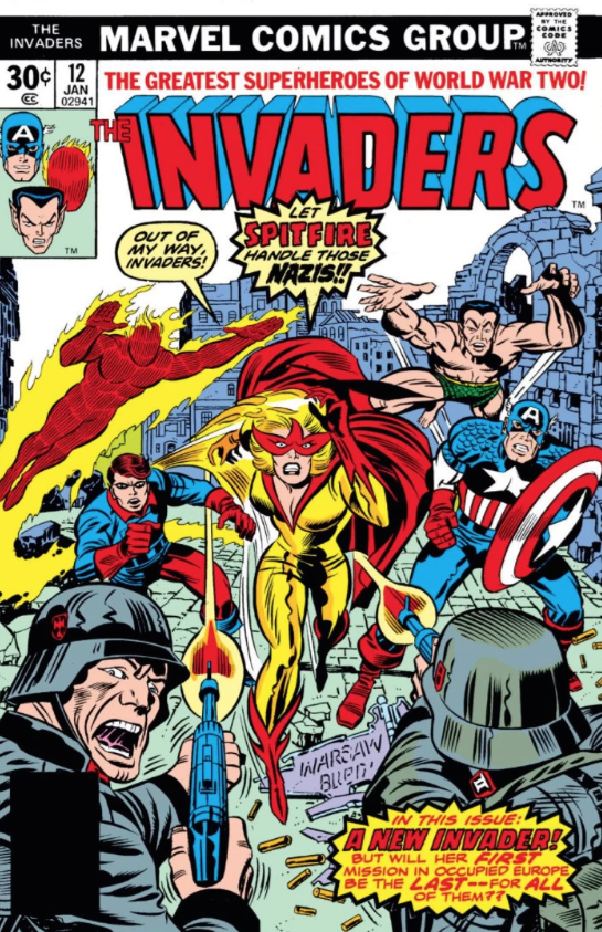 Jack Kirby's cover of The Invaders #8, Marvel Comics, 1976