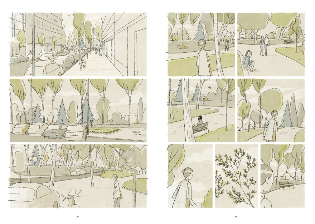 Seven Places Without You pages 68 and 69. Written and drawn by Juan Berrio. Published by Europe Comics. January 23, 2019. - Various panels showing a landscape of pale, grey greens, illustarting streets, trees, and a park with no dialogue