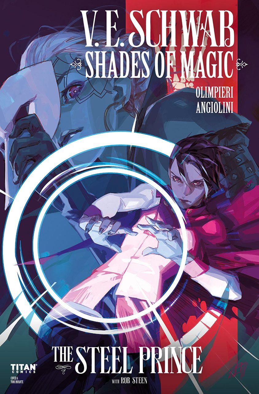 Cover for Shades of Magic - A dark-haired person wearing red throws their hands out in front of them; circles of light radiate out from the hands; someone with white hair and red eyes seems to smile in the background