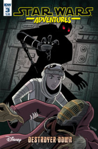Cover for Star Wars Destroyer Down #3, Derek Charm, January 9, 2019, IDW Publishing - Rey helps up a scared figure in a mask and marron robe, while behind her a tall, menacing silhouette with glowing red eyes reaches out for her