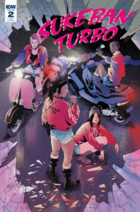 Cover for Sukeban Turbo #2, Victor Santos, December 2018, IDW Publishing - A group of young girls in various red jackets look at the viewer from various poses on the ground or on electric scooters