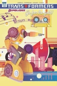 Cover for Transformers: Bumblebee: Go For the Gold!, Nicoletta Baldari, December 2018 - A cartoony Bumblebee points forward against a backdrop of a city in bright primary colors