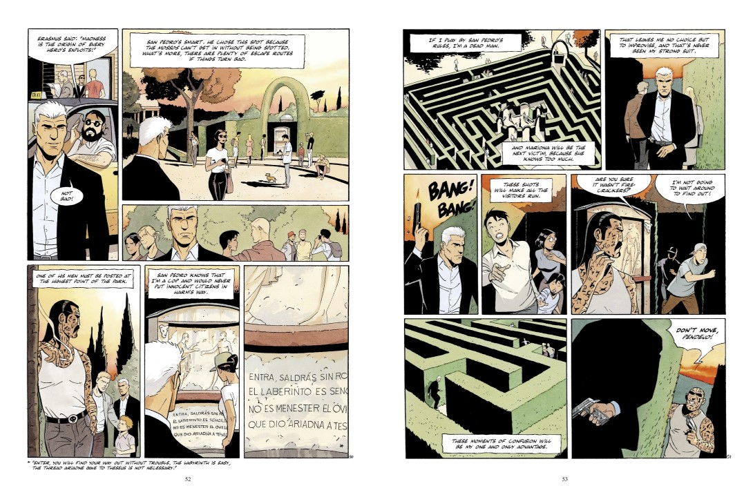 The Art of Dying pages 54 and 55. Written and drawn by Raule. Published by Europe Comics. January 23, 2019. - Panels showing a white-haired man in a suit jacket as he has walks through a hedge maze, where he then fires a gun into the air