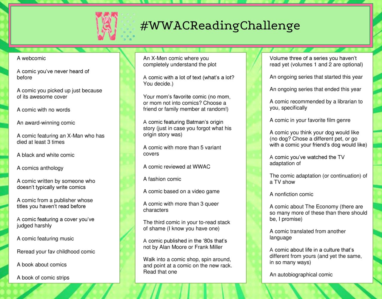 WWAC Reading Challenge (designed by Paige Allen)