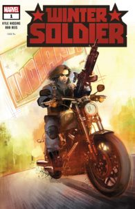 Cover for Winter Soldier #1 - Bucky Barnes riding a motorcycle and carrying a big gun