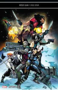 X-Force #1 - Team members pose in battle stances, launching themselves and/or pointing weapons in various directions