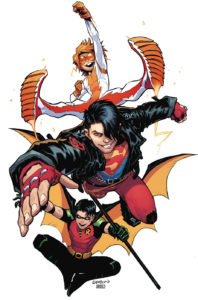 Superboy, Robin, and Impulse, flying airborne towards the viewer