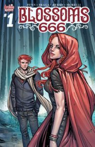Cover for Blossoms 666 - Cheryl in a red cloak looks over her shoulder at the viewer, while behind her Jason scowls in a white scarf against a background of dark green trees