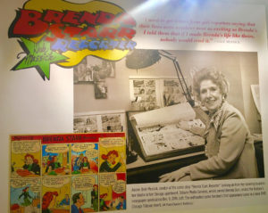 A photo of Dale Messick with her work is surrounded by quotations from, examples of, and information aobut, the newspaper strip