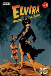 Robert Hack cover for Elvira: Mistress of the Dark #4, Dave Avallone (Writer); Dave Acosta (Art); Andrew Covalt (Colors); Taylor Esposito (Letters); Joseph Michael Lisner, Craig Cermak, Robert Hack (Covers), C Dynamite Comics, January 2019