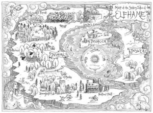 A literary map from From The Cruel Prince by Holly Black (Little Brown Books, 2018)