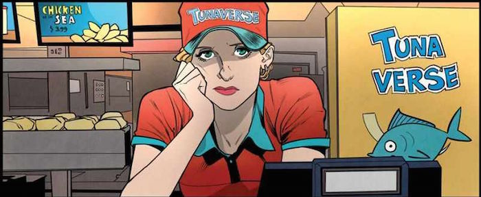 BOOM! Buffy the Vampire Slayer 1, Jordie Bellaire, Dan Mora, Raul Angula, Ed Dukeshire, 2019 - Buffy in a TunaVerse fast food uniform, propping her face up in her hand and looking exhausted
