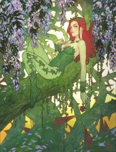 Poison Ivy lounges among branches and vines