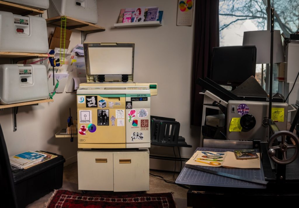 Diskette Press' risograph machine and printing setup