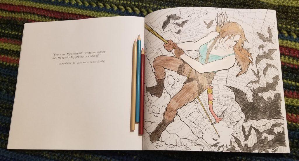 Tomb Raider Coloring Book Crystal Dynamics (writer), Randy Green (artist), Phillip Sevy (artist), Katie Swindlehurst (artist), Tholia (artist) Dark Horse Comics February 13, 2019