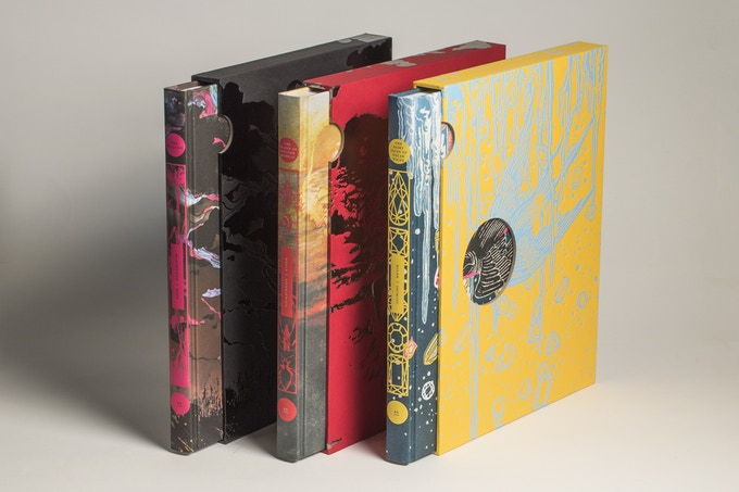 Mockups of the illustrated editions of Peter Pan, Crime & Punishment, and The Blazing World, partly out of their slipcases. All are brightly colored and abstractly illustrated. Beehive Books 2020 Illustrated Editions, Rebekka Dunlap (& Margaret Cavendish), Brecht Evans (& J.M. Barrie), Dave McKean (& Fyodor Dostoevsky), Beehive Books, 2020.