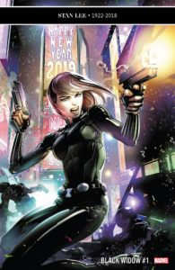 Black Widow, guns blazing, in front of a light-up billboard declaring Happy New Year