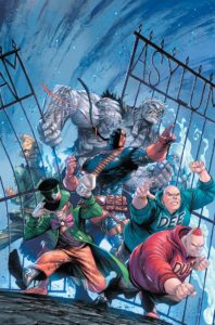 Deathstroke leading the Gotham rogues out of Arkham