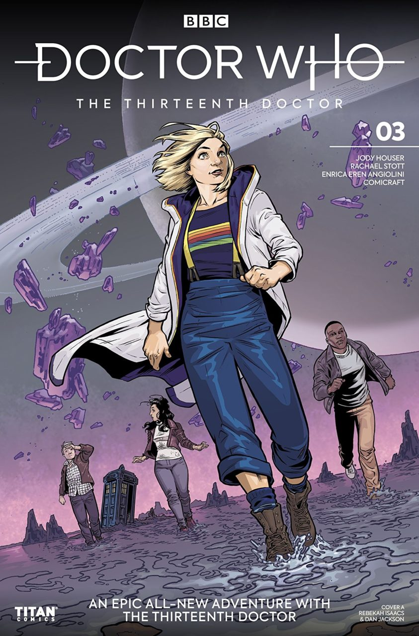 Thirteenth Doctor and companions running on alien planet