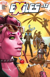 Blink lifts her sunglasses off of her face while the rest of the Exiles relax on a beach behind her