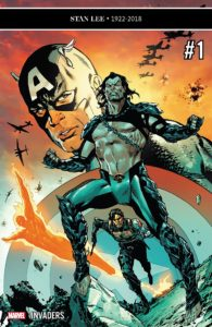 Namor stand defiant with Captain America, Bucky Barnes and The Human Torch behind him.