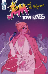 Jem and the Holograms 20/20 Sina Grace (Author), Siobhan Keenan (Artist, Cover Artist), Cathy Le (Colourist), Gabriel Rodriguez (Cover Artist) January 23, 2019 - A woman in a white formal outfit with a red coat around her shoulders holds a mic and looks away from the viewer