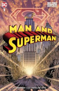 The shadow of Superman Flying Towards Metropolis, S Shield hovering behind the Daily Planet