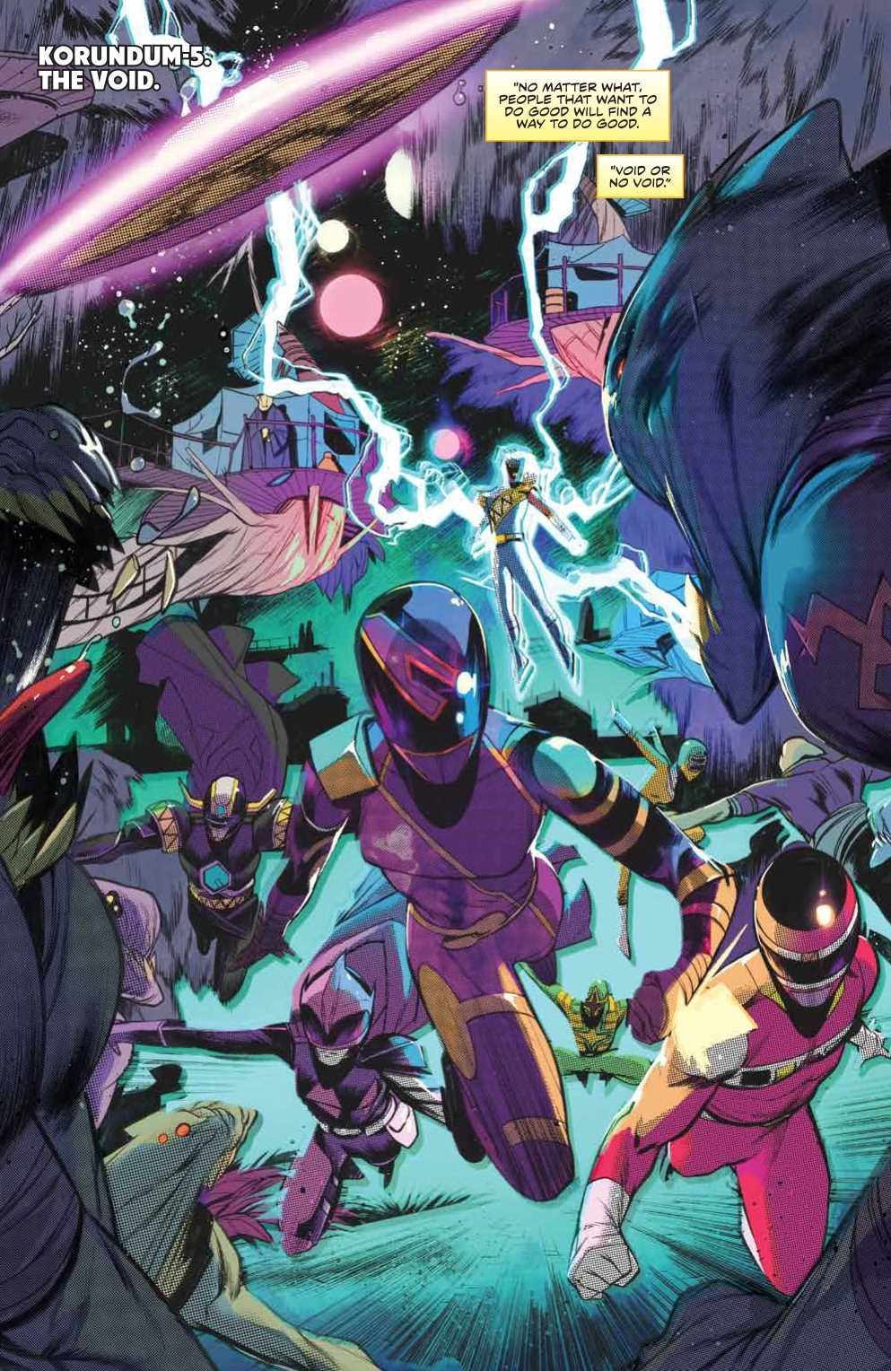 Mighty Morphin Power Rangers #36 page 3. Written by Marguerite Bennett and drawn by Simone Di Meo. Published by BOOM! Studios. February 27, 2019.
