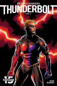 Peter Cannon: Thunderbolt, Dynamite, 2019 - A muscular blond man in a black-red-purple superhero suit poses in front of a black background with red lightning behind him