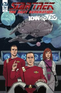 Peter David (Author) • J.K. Woodward (Artist, Cover Artist), IDW, 2019 - A space captain raises his finger as if to give a command, two other officers standing behind him, with a Star Trek spaceship in the background