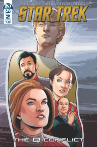 Star Trek: The Q Conflict #2 Cover B by David Messina. Written by Scott and David Tipton, drawn by David Messina and Elisabetta D'Amico. Published by IDW Publishing. 27 February, 2019.