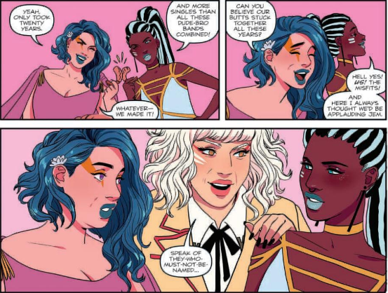 "Jem and the Holograms 20/20 Sina Grace (Author), Siobhan Keenan (Artist, Cover Artist), Cathy Le (Colourist), Gabriel Rodriguez (Cover Artist) January 23, 2019 - Two of the Misfits congratulate each other on sticking together for twenty years: ""We made it!"""