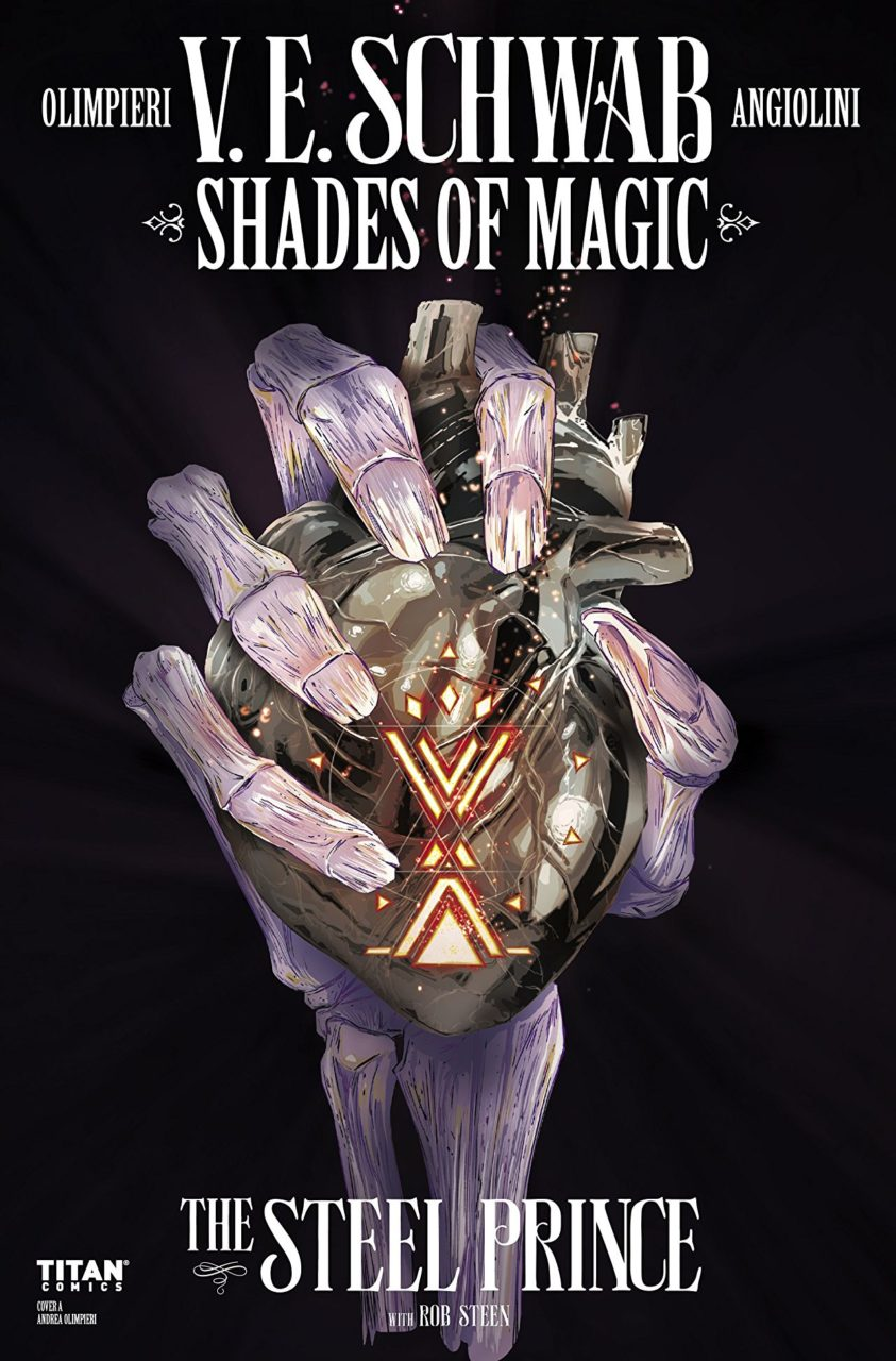 Bony hand holding a steampunk heart